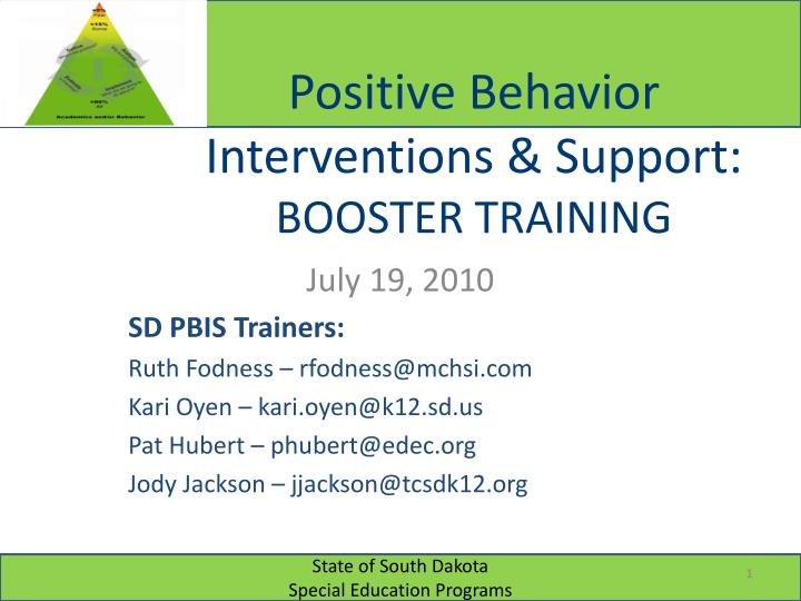 positive behavior interventions support booster training n.