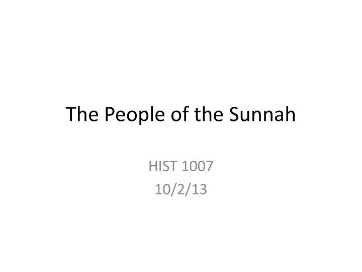 the people of the sunnah n.