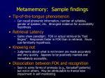 metamemory sample findings