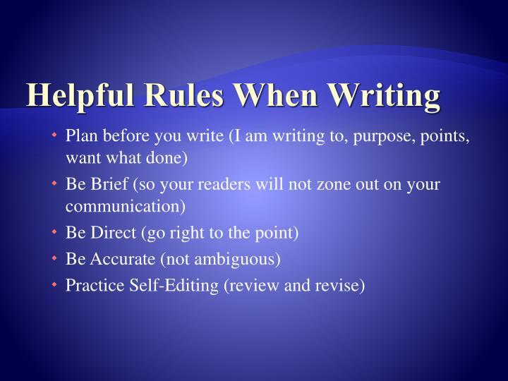 Helpful Rules