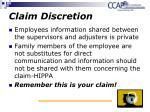 claim discretion