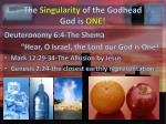 the singularity of the godhead god is one