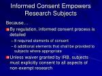 informed consent empowers research subjects