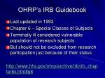 ohrp s irb guidebook