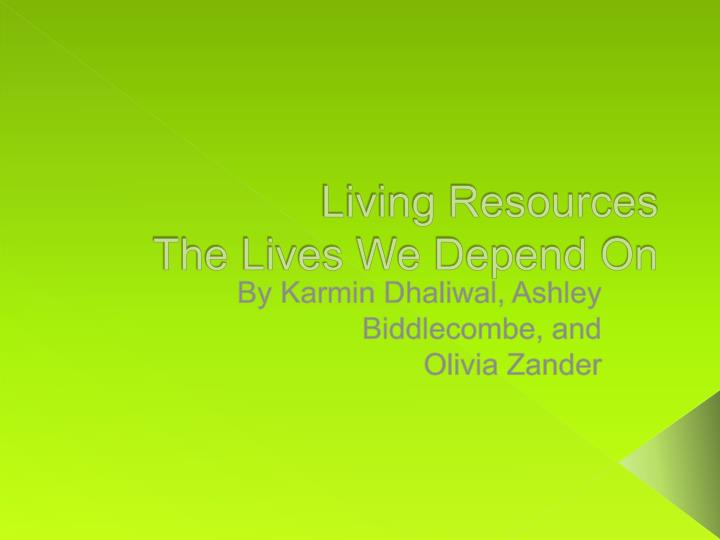 living resources the lives w e depend on n.