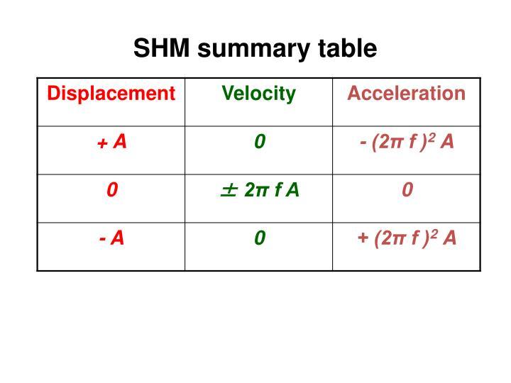 SHM summary table