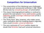 competitors for universalism
