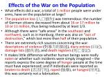 effects of the war on the population