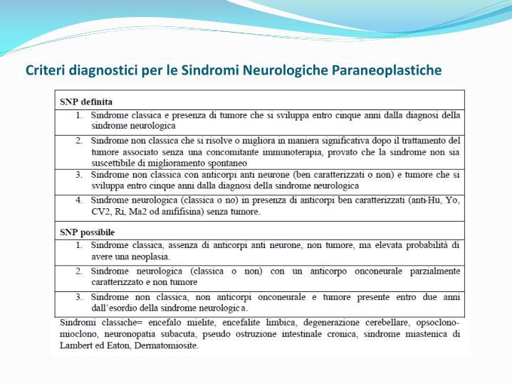 sindromi neurologiche paraneoplastiche Download citation | le sindromi paraneoplastiche sono manifestazioni tumorali che non hanno contiguità con la neoplasia che le determina né con le sue metastasi [1.