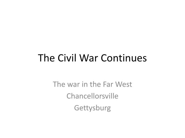 the civil war continues n.