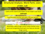 structural analysis word parts over under sub