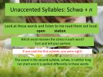 unaccented syllables schwa n