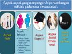 aspek aspek yang mempengaruhi perkembangan individu pada masa dewasa awal
