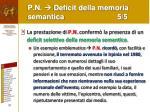 p n deficit della memoria semantica 5 5