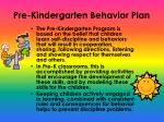 pre kindergarten behavior plan