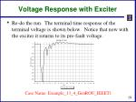 voltage response with exciter