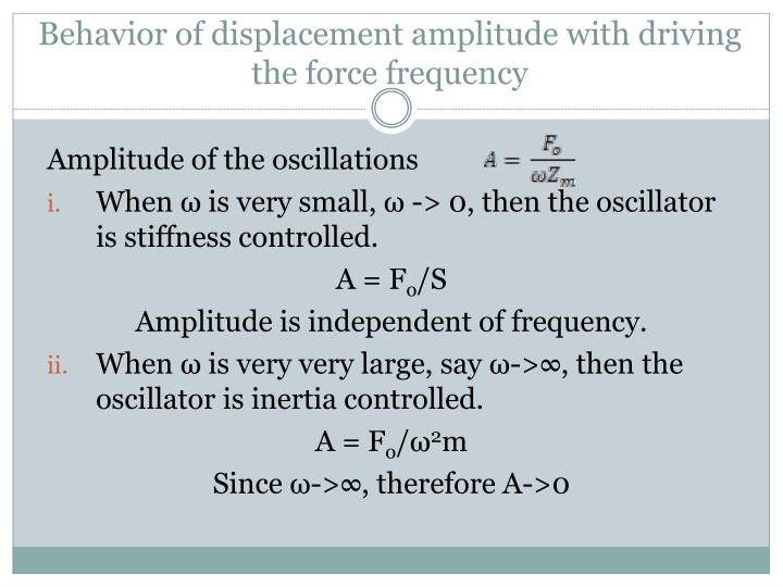 Behavior of displacement amplitude with driving the force frequency