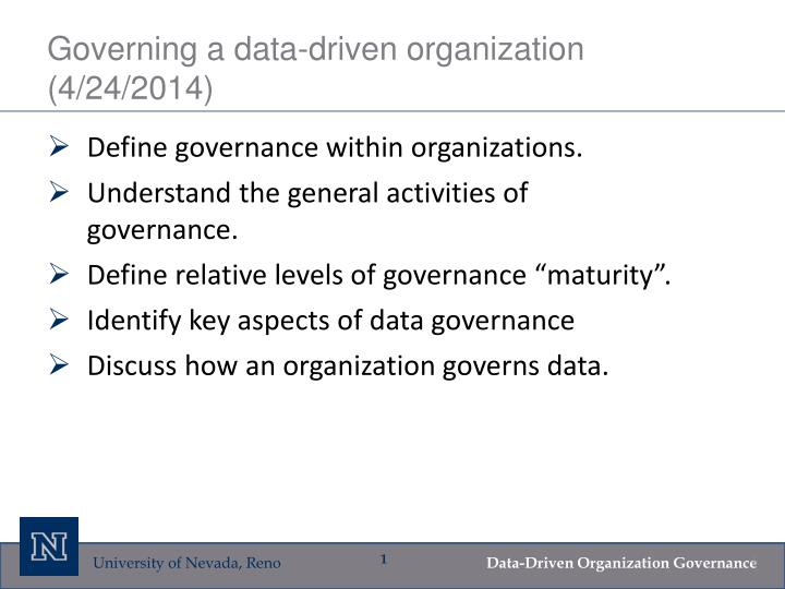 governing a data driven organization 4 24 2014 n.