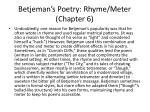 betjeman s poetry rhyme meter chapter 6