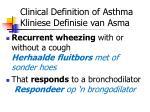 clinical definition of asthma kliniese definisie van asma