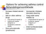 options for achieving asthma control behandelingsmoontlikhede