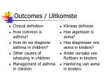 outcomes uitkomste
