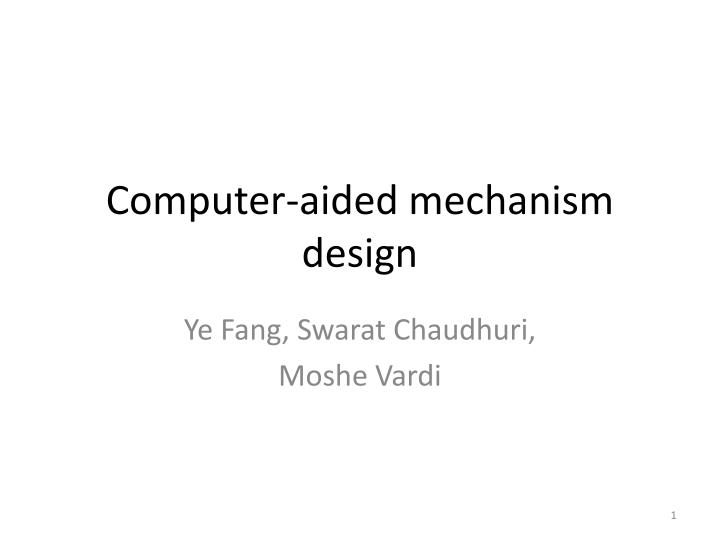 computer aided mechanism design n.