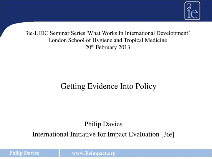 philip davies international initiative for impact evaluation 3ie n.