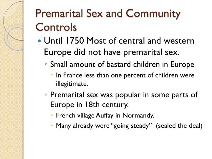 premarital sex and community controls n.