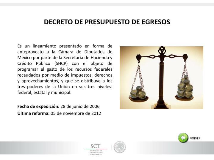 DECRETO DE PRESUPUESTO DE EGRESOS