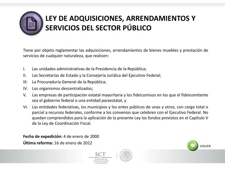 LEY DE ADQUISICIONES, ARRENDAMIENTOS Y SERVICIOS DEL SECTOR PÚBLICO