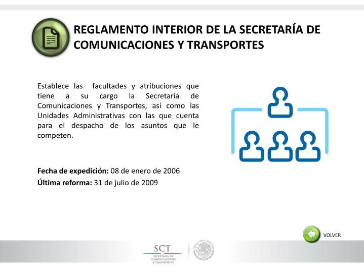 REGLAMENTO INTERIOR DE LA SECRETARÍA DE COMUNICACIONES Y TRANSPORTES