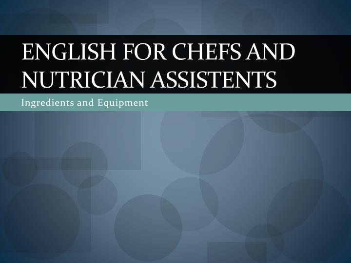 english for chefs and nutrician assistents n.