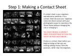 step 1 making a contact sheet