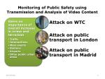 monitoring of p ublic s afety using transmission and analysis of video content
