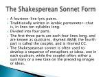 the shakesperean sonnet form