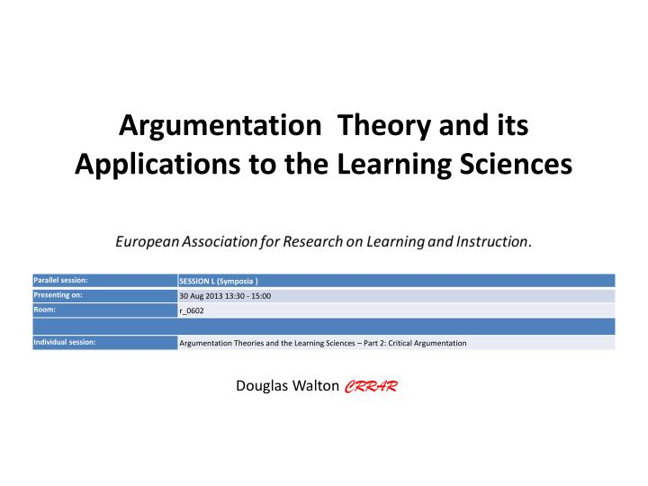 argumentation theory and its applications to the learning sciences n.