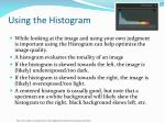 using the histogram