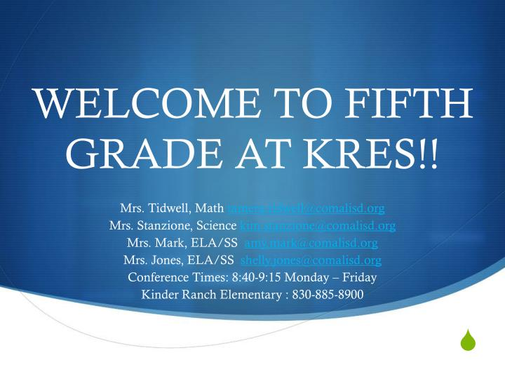 welcome to fifth grade at kres n.