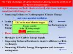 the triple challenges of carbon reduction energy security and cost of our future energy supplies