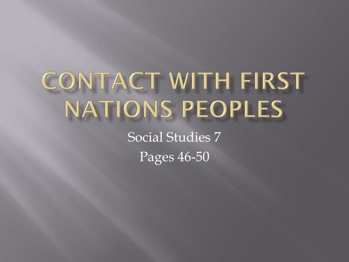 contact with first nations peoples n.