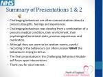 summary of presentations 1 2