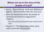 where are we in the story of the people of israel