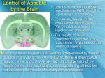 control of appetite by the brain
