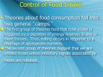 control of food intake