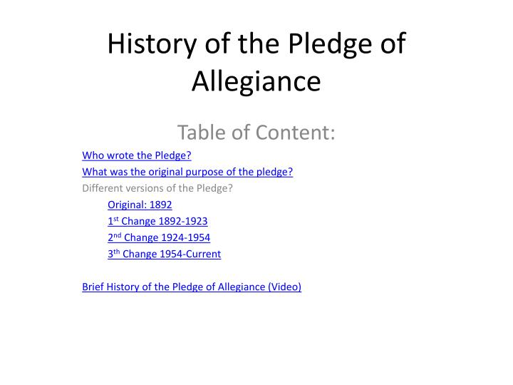 history of the pledge of allegiance n.