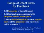 range of effect sizes for feedback