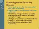 passive aggressive personality disorder