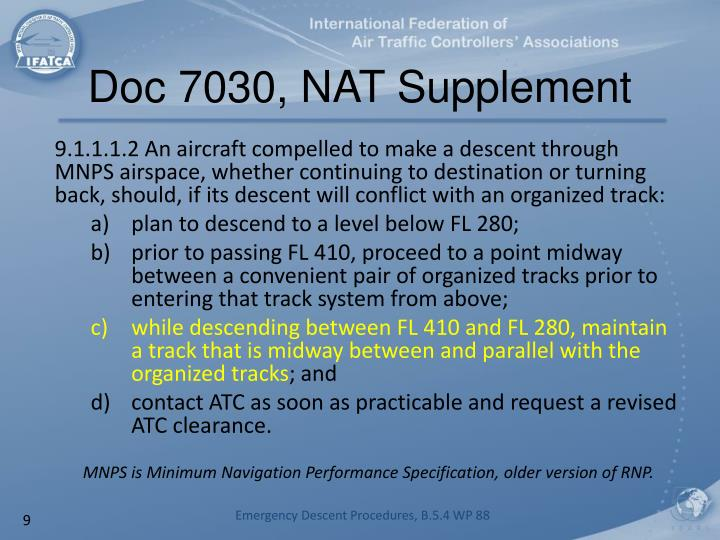Doc 7030, NAT Supplement