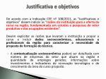 justificativa e objetivos